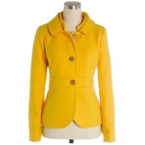 J Crew Maggie Double Serge Yellow Wool Coat 4